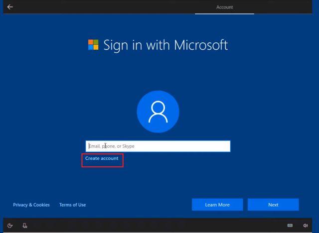 Как создать локальную учетную запись в Windows 10 во время установки