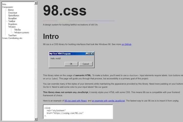 Вы можете создать Windows 98-вдохновленный пользовательский интерфейс с 98.css