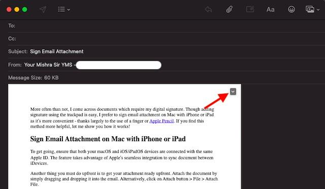 Как использовать iPhone или iPad для подписи вложения электронной почты на Mac