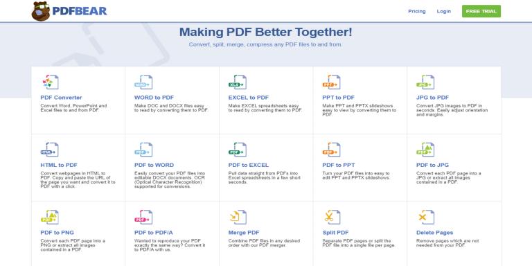 PDFBear — это онлайн-конвертер PDF, позволяющий делать все с PDF