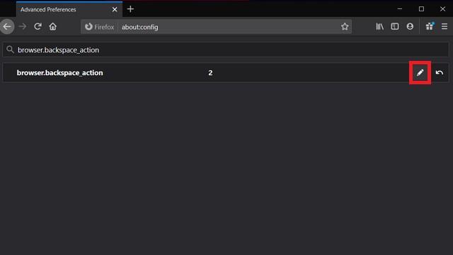 Как повторно включить клавишу навигации Backspace в Firefox