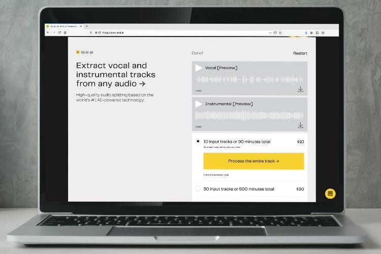 Lalal.ai: извлечение вокала и инструментальных треков из аудио
