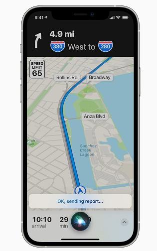 Как сообщать о дорожно-транспортных происшествиях и проверках скорости на картах Apple Maps