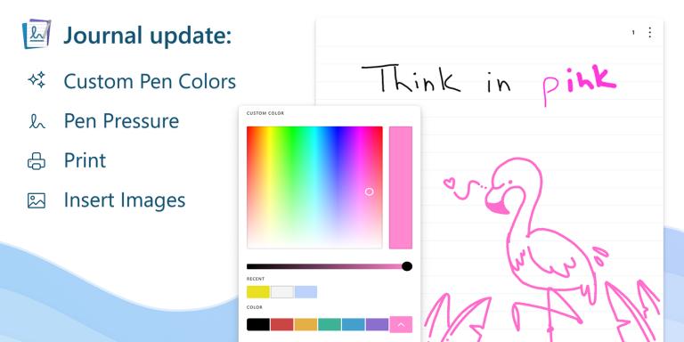 Приложение Microsoft Journal добавляет новые функции, в том числе настраиваемые цвета пера