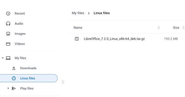 Как установить файл tar.gz на Chromebook